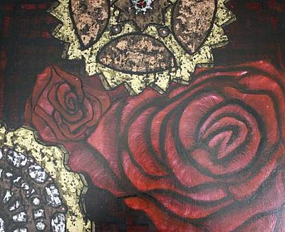 Black Painting - Gears Of War Of The Roses by Rebecca Schoof
