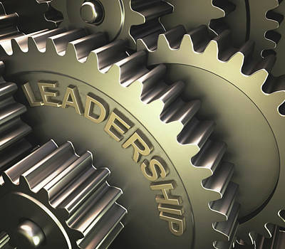 3d Artwork Photograph - Gears With The Word 'leadership' by Ktsdesign