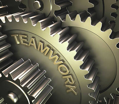 3d Artwork Photograph - Gears With The Word 'teamwork' by Ktsdesign