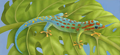 Philodendron Painting - Gecko by Laura Regan