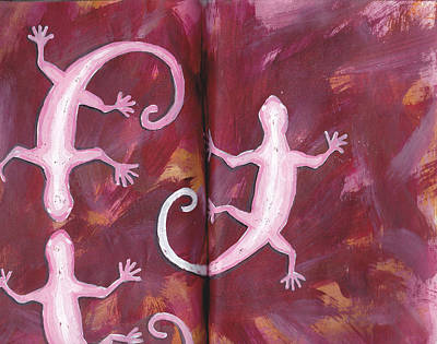 Geckos In Sketchbook Art Print by Chad Brown