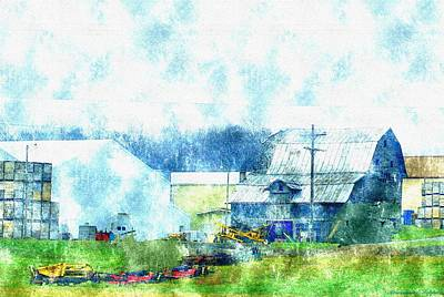 Old Barn Drawing - Gee Farm Orchard Barns And Outbuildings   by Rosemarie E Seppala