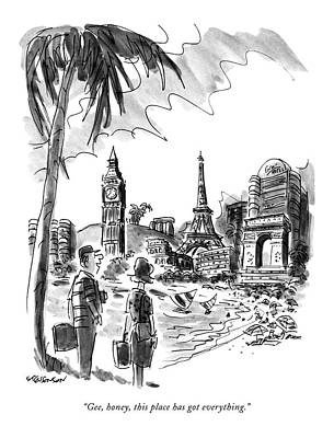 Paris Drawing - Gee, Honey, This Place Has Got Everything by James Stevenson