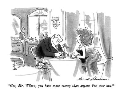 Sugar Drawing - Gee, Mr. Wilson, You Have More Money Than Anyone by Bernard Schoenbaum