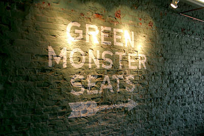 Redsox Photograph - Geen Monster Seats Sign by Kathy Hutchins