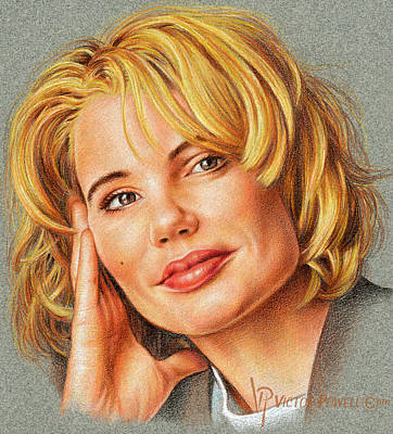 Drawing - Geena Davis Portrait by Victor Powell