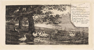 Stark Drawing - Geese At Water, Elias Stark by Elias Stark
