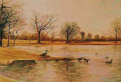 Drawing - Geese Crossing by Terry Jackson