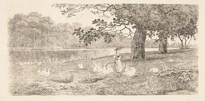 Stark Drawing - Geese In The Water, Elias Stark by Elias Stark