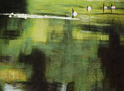 Geese On Pond Art Print by Andy Mars