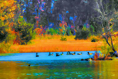 Painting - Geese On The Lake by Mike Flake