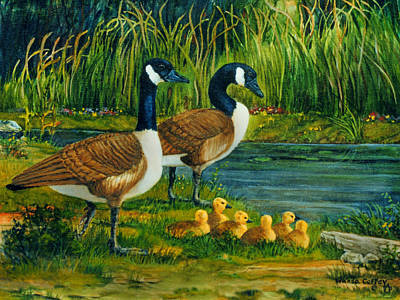 Canadian Geese Painting - Geese by Wanda Coffey