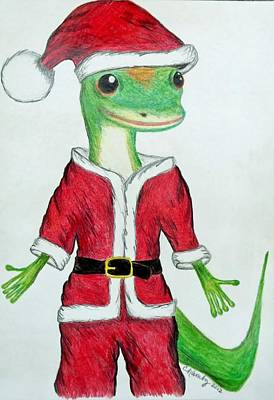 Drawing - Geico Santa by Carol Hamby