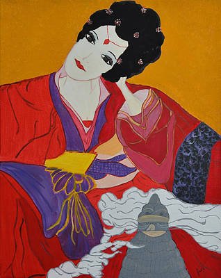 Art Print featuring the painting Geisha 2 by Judi Goodwin