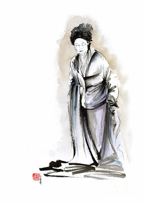 Geisha Classical Figure Kimono Woman Wearing Old Style Painting Original