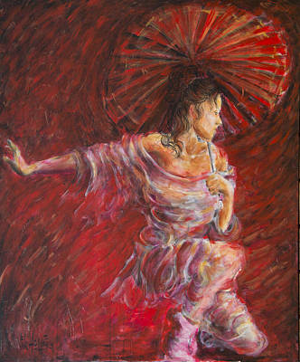 Painting - Geisha Dance With Umbrella by Nik Helbig