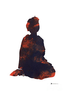 Geisha Figurine Artwork Watercolor Painting Poster Print by Joanna Szmerdt