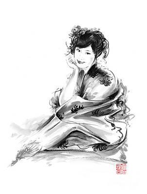 Geisha Geiko Maiko Young Girl Kimono Japanese Japan Woman Sumi-e Original Painting Art Print Art Print by Mariusz Szmerdt