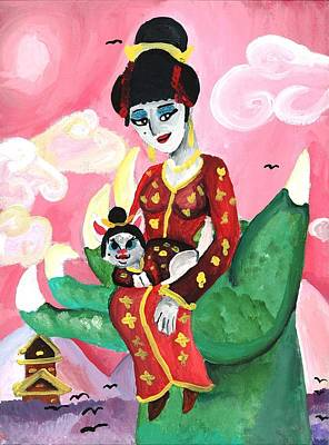 Shelby Painting - Geisha Girl And Kitty by Artists With Autism Inc