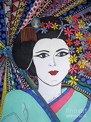 Geisha Girl Portrait Original by Karen Larter