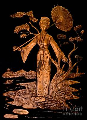 Relief Copper Art Relief - Geisha Girl by Randa Hitchner