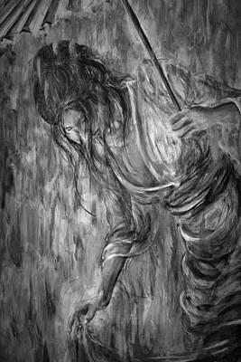 Painting - Geisha - Grayscale by Nik Helbig