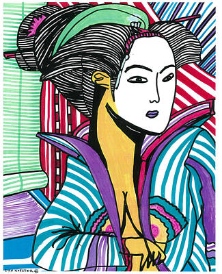 Geisha Green And Blue Art Print