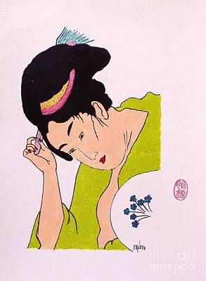 Geisha Hair Dressing Art Print by Roberto Prusso