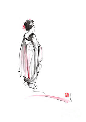 Geisha In Kimono Japanese Ink Painting. Art Print by Mariusz Szmerdt