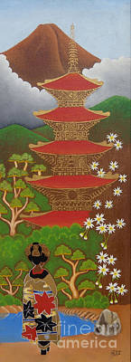 Designers Choice Painting - Geisha In The Garden by Miguelito Iglesias