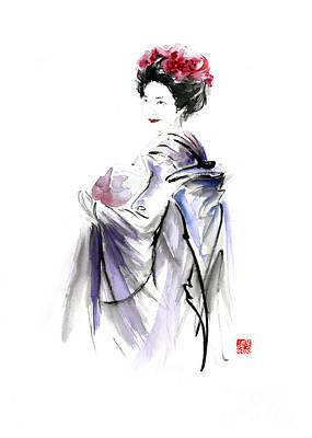 Japanese-ink- Color Painting - Geisha Japanese Woman In Tokyo Fresh Flowers Kimono Original Japan Painting Art by Mariusz Szmerdt