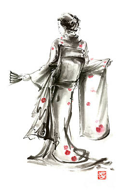 Japanese Geisha Girls Painting - Geisha Japanese Woman Sumi-e Original Painting Art Print by Mariusz Szmerdt