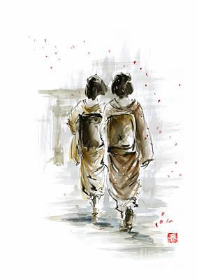 Japanese-ink- Color Painting - Geisha - Japanese Women. by Mariusz Szmerdt