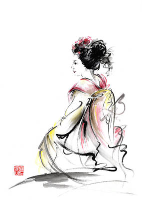 Japanese Geisha Girls Painting - Geisha Japanese Woman Young Girl In Tokyo Kimono Fabric Design Original Japan Painting Art by Mariusz Szmerdt