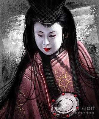 Geisha Drawing - Geisha Kunoichi by Andre Koekemoer