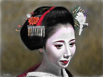 Geisha Digital Painting - Geisha No.145 by Yoshiyuki Uchida
