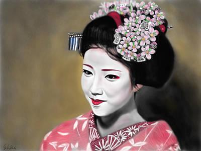 Geisha Digital Painting - Geisha No.166 by Yoshiyuki Uchida