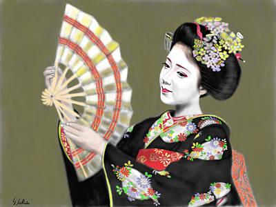 Geisha Digital Painting - Geisha No.172 by Yoshiyuki Uchida
