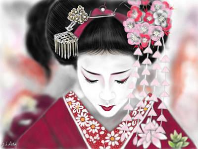 Geisha Digital Painting - Geisha No.185 by Yoshiyuki Uchida
