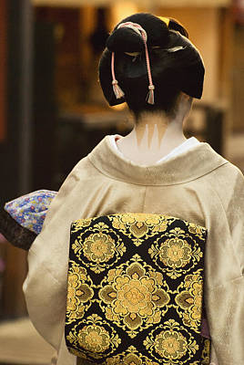 Geisha Showing Her Nape Make-up And Obi Art Print by Philippe Widling