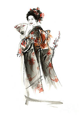 Japanese Geisha Girls Painting - Geisha Smile. by Mariusz Szmerdt