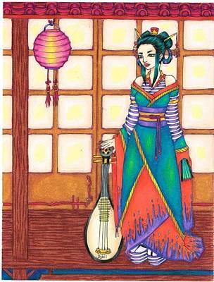 Screen Doors Drawing - Geisha by Sybil Schubert