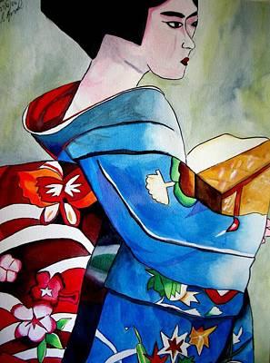Geisha With Blue Kimono Art Print by Sacha Grossel