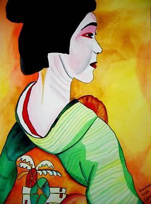Geisha With Green Kimono Art Print by Sacha Grossel