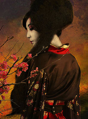 Japanese Silk Photograph - Geisha With Quince - Revised by Jeff Burgess