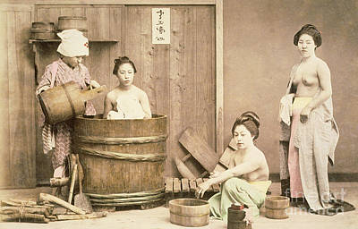 Bare Breasts Photograph - Geishas Bathing by English School