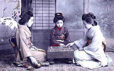 Photograph - Geisha's Playing Board Game by Unknown