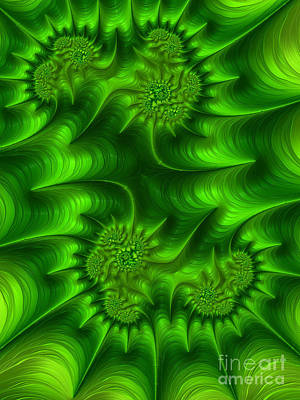 Abstract Shapes Digital Art - Gemini In Green by John Edwards