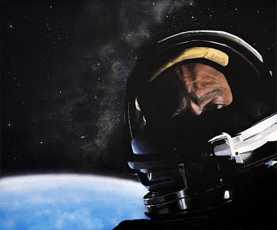 Nasa Painting - Gemini Xii- Buzz Aldrin by Simon Kregar