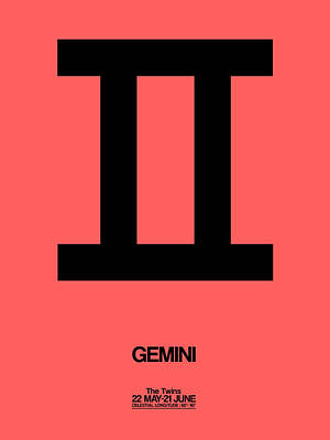 Signed Digital Art - Gemini Zodiac Sign Black by Naxart Studio
